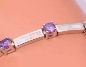 Stunning-White-Fire-Lab-Opal-amp-Like-Amethyst-Gem-Silver-Tennis-Style-Bracelet