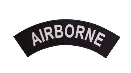 AIR BORNE White on Black Top Rocker Iron on Patch for Biker Vest TR340