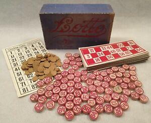 VINTAGE-LOTTO-gioco-da-glevum-Games-in-Originale-Scatola-Blu-1950s