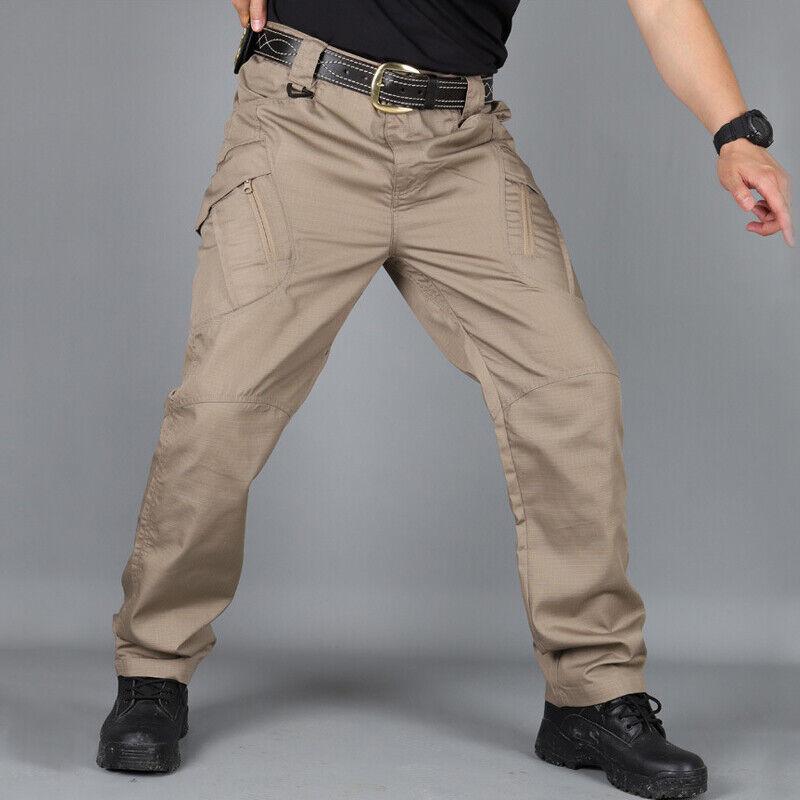 Waterproof Soldier Tactical Pants Mens Cargo Casual Pants Combat Outdoor Hiking