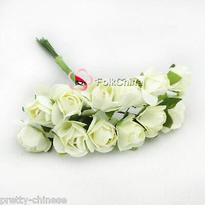 144 Chic Mini Petite Paper Artificial Rose Buds Flowers DIY Craft Scrapbook