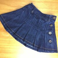Girls Skirt 4 Years NEXT Denim Pleated Button Down Dark Blue Skater Style CB