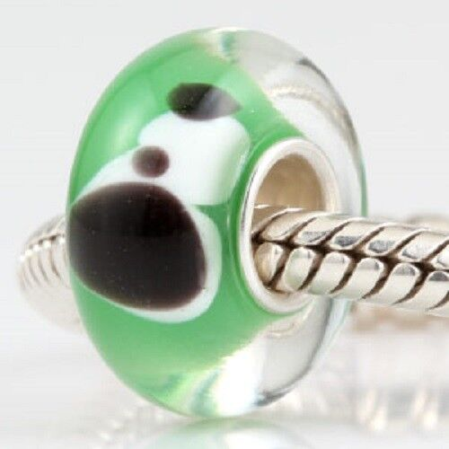 925 Sterling Silver Core Murano Lampwork Glass Puppy Dog Charm Bead