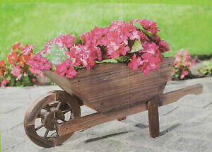 Wheelbarrow wooden garden planter wheelbarrow dia h31 for Fioriera carriola