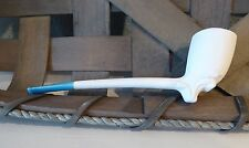 Vtg Hand Made Single Wall Clay Dutch Smoking PIPE with BLUE Glazed Mouth Piece