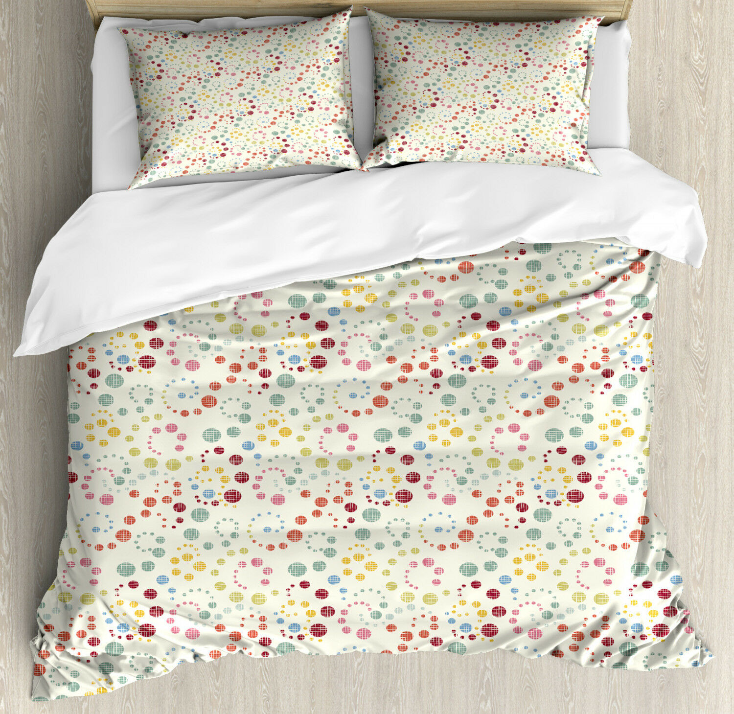 Abstract Duvet Cover Set with Pillow Shams Dot Swirls Retro Look Print