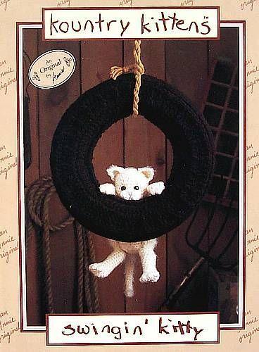 """Crochet  Kountry Kittens  Swingin"""" Kitty  Vintage Pattern  Annie's Attic"""