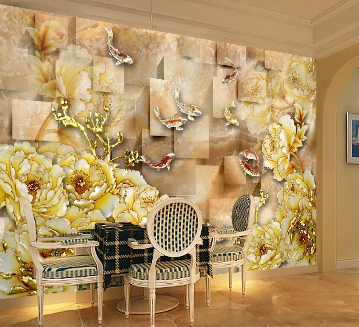 3D Blumen Karpfen 462 Tapete Wandgemälde Tapete Tapeten Familie Kinde DE Lemon