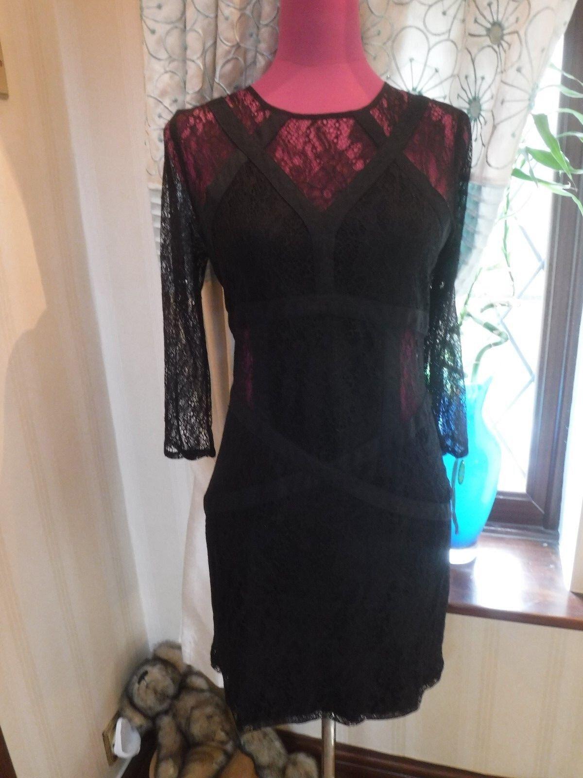 427b8ca07d91da Stunning All Saints Neely Dress schwarz Größe Größe Größe 6 Excellent  Condition 4c7f08