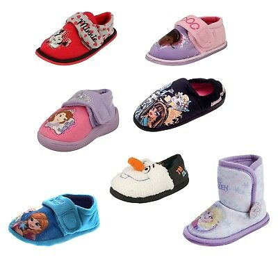 GIRLS BOYS OFFICIAL CARTOON CHARACTER NOVELTY SLIPPERS INFANTS KIDS DISNEY