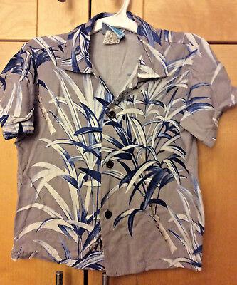 RJC Toddler Boy's Gray & Blue Hawaiian 100%  Rayon Camp Surf Shirt 4T