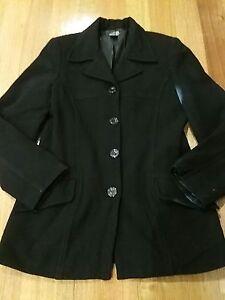 MISS-SHOP-Beautiful-Black-Warm-Wool-Blend-Coat-Size-10-S-Excellent-Condition