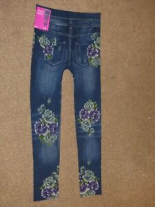 Fast Deliver Ladies Fashion Denim Leggings Floral One Size New With Tags