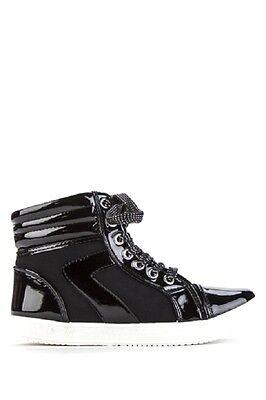 Mujer de las Señoras Zapatillas Sneakers Alta Top Metalic Con Cordones Talla 6 y 7
