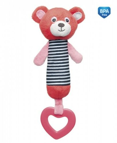 Cute Toy Rattle Squeaky Teether Soft Colour Light kid Baby Infant Canpol