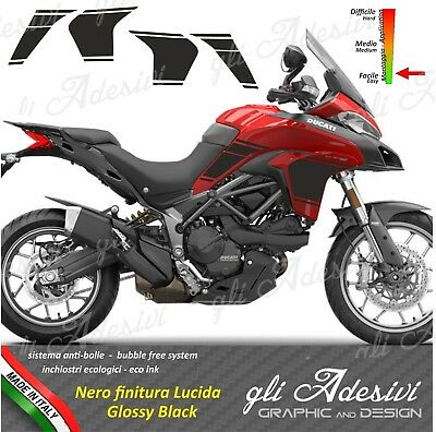 Set Stickers Side Ducati Multistrada 9501200 Racing Style Shiny Black Ebay