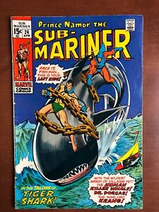 Sub-Mariner-24-1970-6-5-FN-Marvel-Key-Issue-Bronze-Age-Comic-Tiger-Shark-App