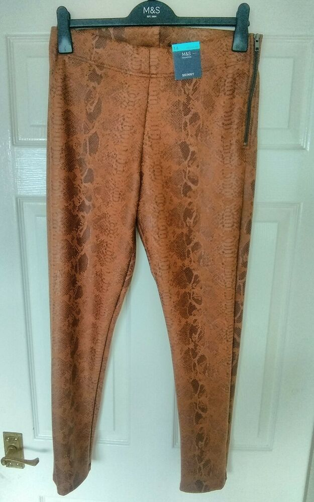 Nwtg M&s Collection Femme Taille 14-18 Skinny Regular Peau De Serpent Look Pantalon