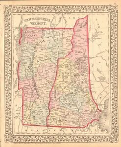 1874 Antique Map Usa New Hampshire And Vermont Ebay