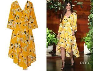 Diane-Von-Furstenberg-Eloise-100-Silk-Wrap-Dress-XS-Yellow-Orange-Floral-Print