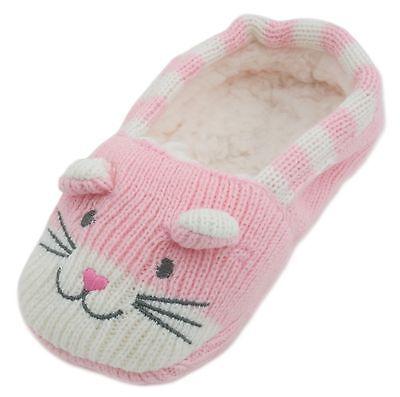 Rjm chicas gato Zapatilla Calcetines de Punto Suave Con Suela De Agarre