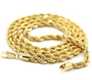 Mens-14K-Yellow-Gold-Plated-5mm-Rope-Chain-Necklace-24-034