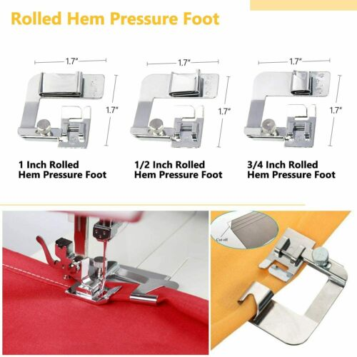 8pcs//set Rolled Hem Presser Foot Set Compatible with Singer,Brother,Juki,etc