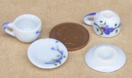 1:12 escala 2 Taza de sopa y platillo conjuntos Malva Flor Motivo Casa Muñeca Accesorio CS15