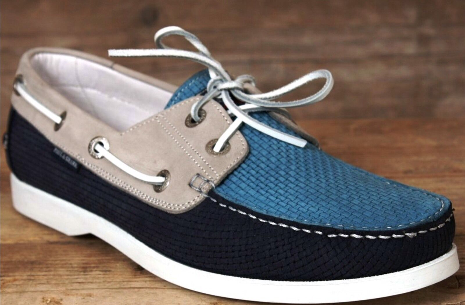 NIB Paul & Shark Yachting Boat Deck Woven Leather scarpe Made In , EU44 US11
