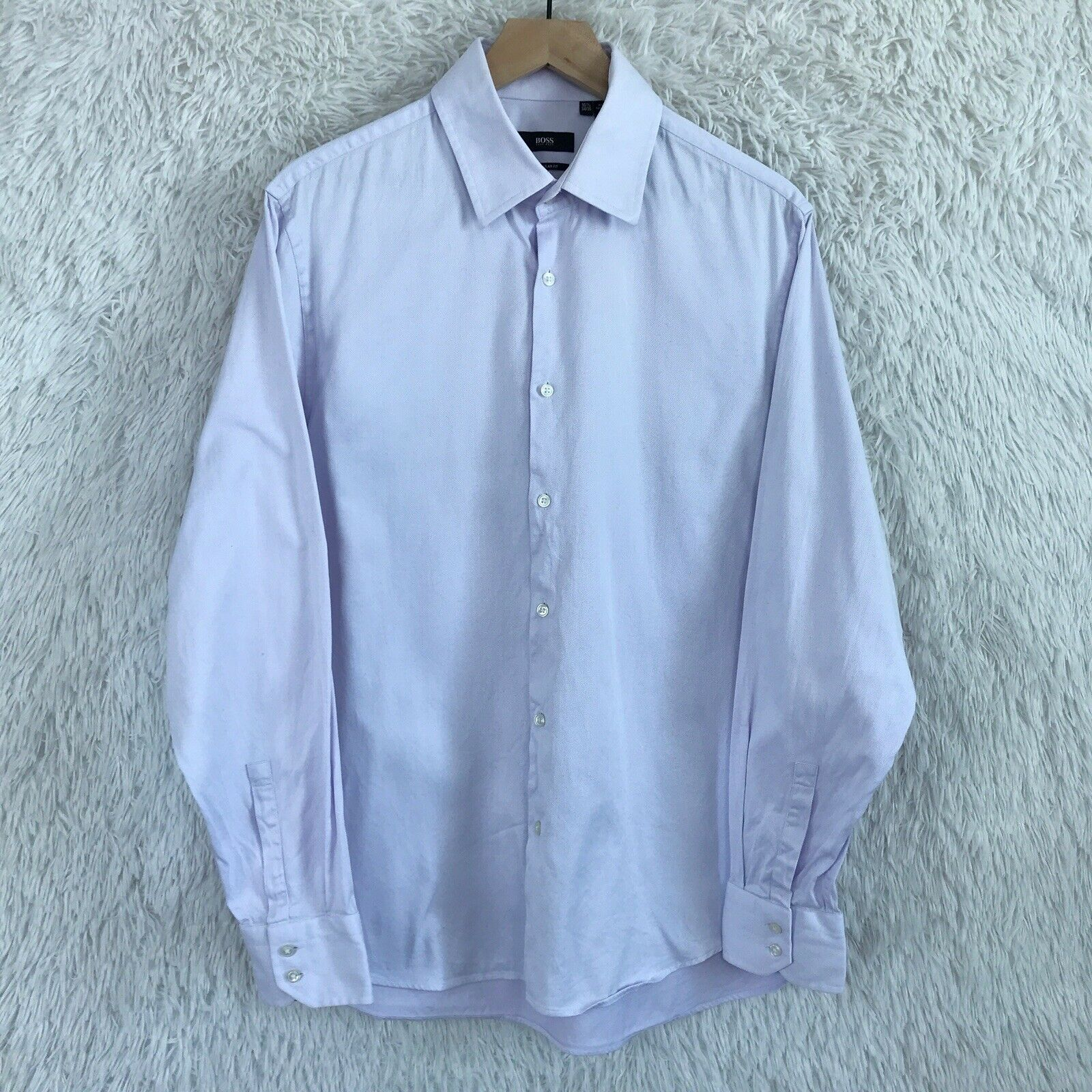 618145e1080 Hugo Boss 16 2 34 35 Light Purple Button Down Dress Shirt Regular ...