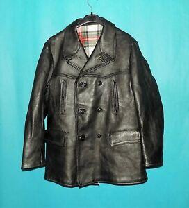 canadienne vintage GRAULHET CGFTE année 1984 cuir noir doublé laine taille XL