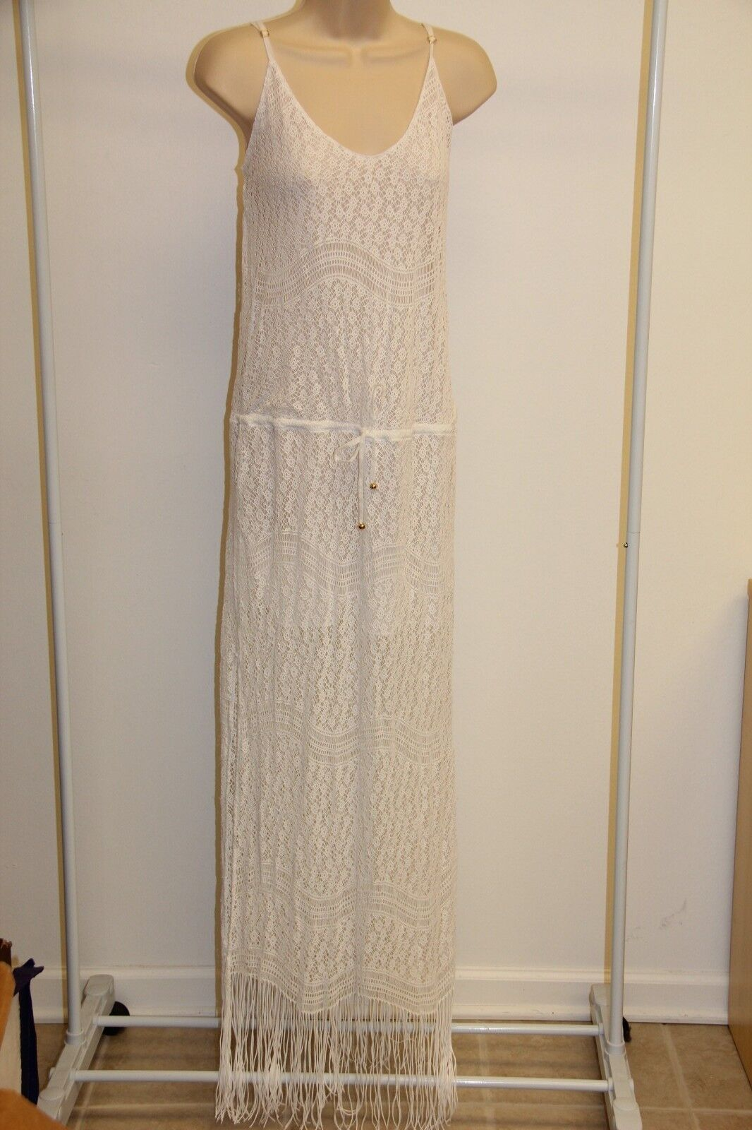 NWT PILYQ Barcelona Swimsuit Bikini Cover Up Maxi Dress Sz M L White