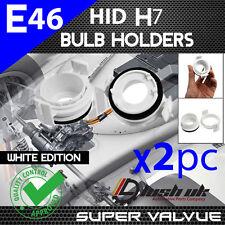 *2x XENON HID H7 BULB HOLDER BMW E46 3 Series WHITE ADAPTORS PAIR 320 330 325
