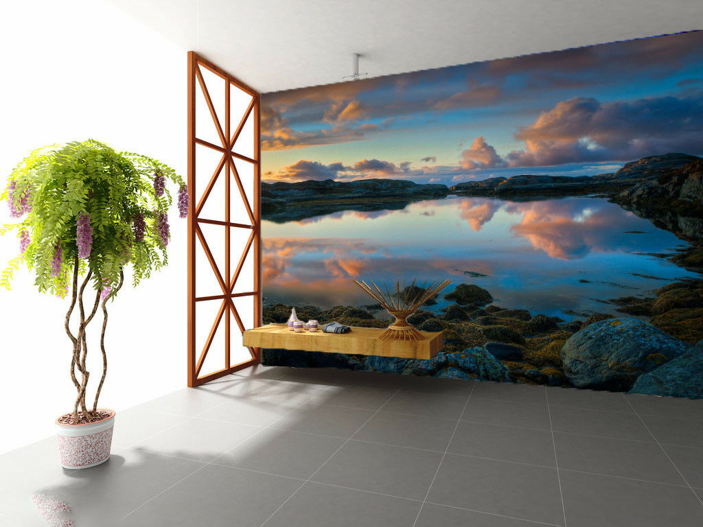 3D Dusk Cloud Nature 4 Wall Paper Wall Print Decal Wall Deco Indoor Mural Summer