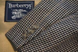 Burberry-Brown-Red-Black-Houndstooth-Plaid-Tweed-Wool-Sport-Coat-Jacket-Sz-46R