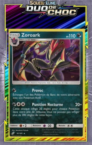 SL09:Duo De Choc 91//181 Zoroark Holo Carte Pokemon Neuve Française