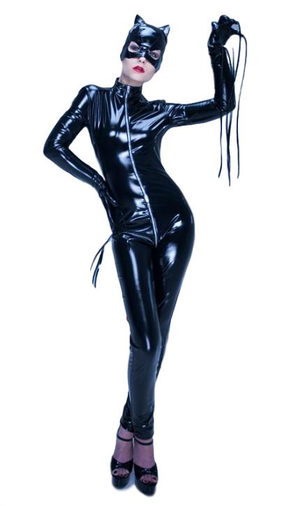Top Totty sexy donne maschera nera con doppia cerniera maniche maniche maniche lunghe Costume CatDonna 3b78d4