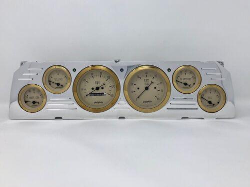 1964 1965 1966 Chevy Truck 6 Gauge Dash Cluster Gold