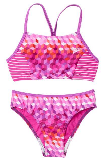 1fa7d46926fcc NWT Speedo Two-Piece Geometric Electric Purple Bikini Swimsuit Girls Sizes  14 16