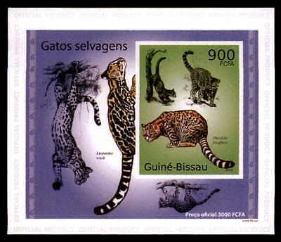 Guinea-bissau Epreuve De Luxe Wildkatzen Katzen Katze Wildcats Deluxe Sheet Dg62 GläNzende OberfläChe Motive