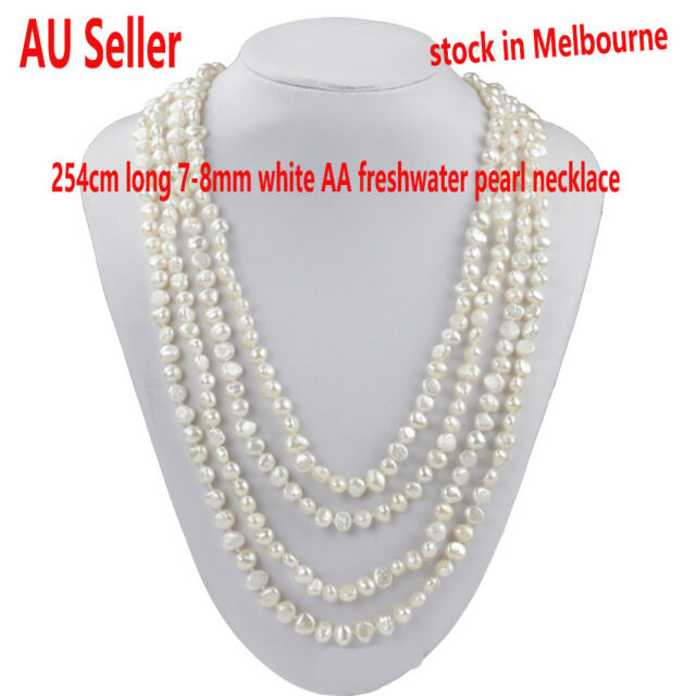 """Long 254cm/10"""" 7-8mm baroque individuality white AA freshwater pearl necklace"""