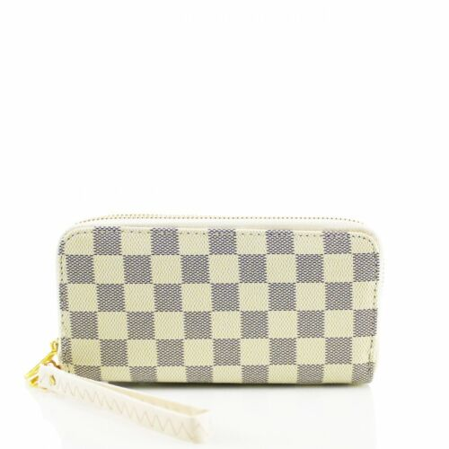 Ladies Women/'s Designer Inspired Checked Purse Folded Gold Tone Wallet New