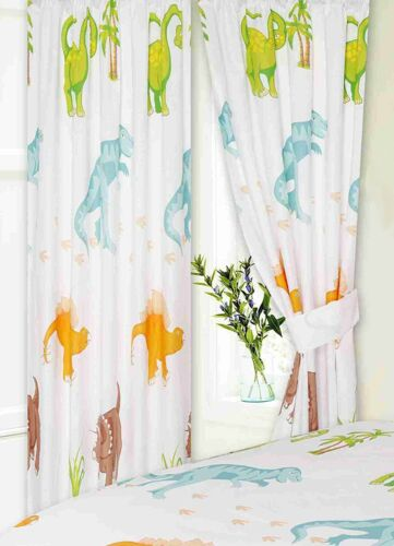 DINOSAURS 66 x 72 WHITE GREEN T-REX READY MADE PENCIL PLEAT CURTAINS KIDS