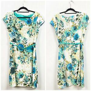 Dress-Barn-12-Womens-Green-Floral-Belted-Cap-Sleeve-Midi-Sheath-Dress