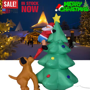 US 6 ft Inflatable Airblown Santa Claus Climbing Christmas Tree Dog Yard Decor