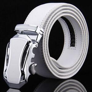 Men-WHITE-Genuine-Leather-Golf-Dress-Belt-Fit-Automatic-Buckle-Ratchet-Belt