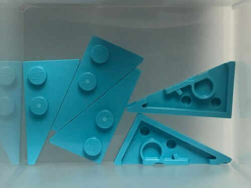 QTY 5 Medium Azure Wedge Plate 4 x 2 Left Pointed LEGO Parts No 65429