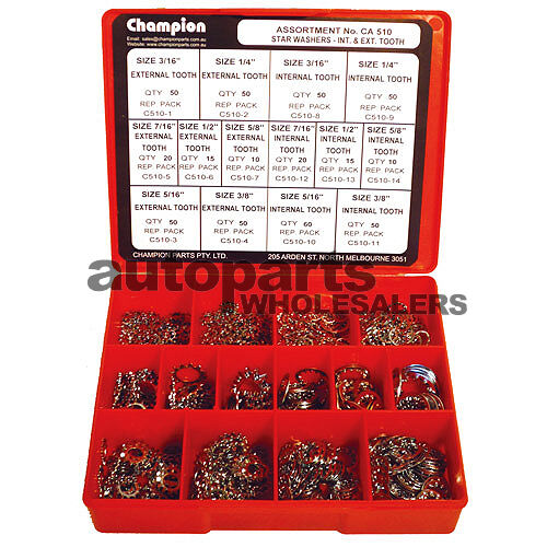 CHAMPION INTERNAL & EXTERNAL STAR WASHERS IMPERIAL ASSORTMENT KIT 500 Pieces