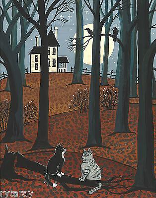 5x7 RYTA PRINT OF PAINTING BENGAL TABBY CAT FOLK ART WHIMSICAL LIBRARY OWL KITTY