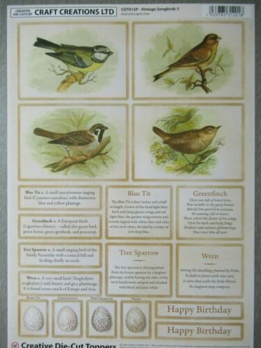 Craft Creations Vintage Topper aves canoras Die Cut Hoja Robin Sparrow Herrerillo
